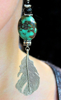 Turquoise & Onyx Feather Earrings